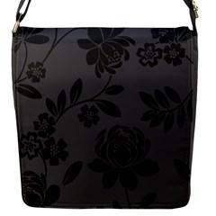 Flower Floral Rose Black Flap Messenger Bag (S)