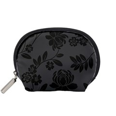 Flower Floral Rose Black Accessory Pouches (Small)