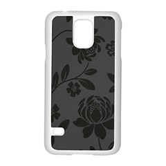 Flower Floral Rose Black Samsung Galaxy S5 Case (White)
