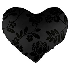 Flower Floral Rose Black Large 19  Premium Flano Heart Shape Cushions