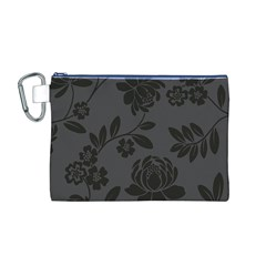 Flower Floral Rose Black Canvas Cosmetic Bag (M)