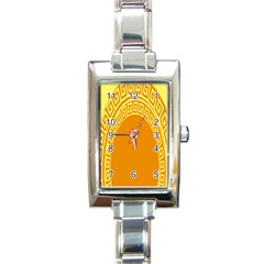 Greek Ornament Shapes Large Yellow Orange Rectangle Italian Charm Watch