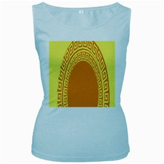 Greek Ornament Shapes Large Yellow Orange Women s Baby Blue Tank Top