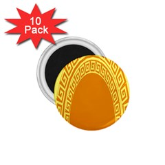 Greek Ornament Shapes Large Yellow Orange 1.75  Magnets (10 pack)