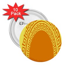 Greek Ornament Shapes Large Yellow Orange 2.25  Buttons (10 pack)