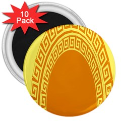 Greek Ornament Shapes Large Yellow Orange 3  Magnets (10 pack)