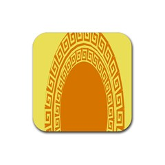 Greek Ornament Shapes Large Yellow Orange Rubber Square Coaster (4 pack)