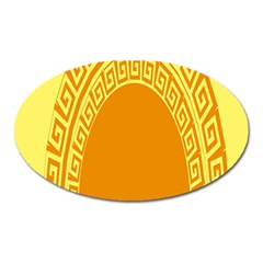 Greek Ornament Shapes Large Yellow Orange Oval Magnet