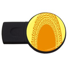 Greek Ornament Shapes Large Yellow Orange USB Flash Drive Round (2 GB)