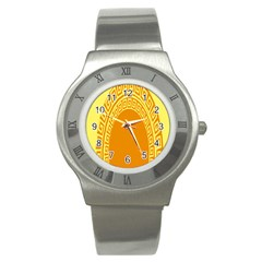 Greek Ornament Shapes Large Yellow Orange Stainless Steel Watch
