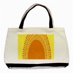 Greek Ornament Shapes Large Yellow Orange Basic Tote Bag