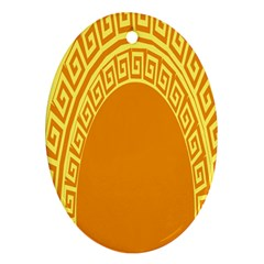 Greek Ornament Shapes Large Yellow Orange Oval Ornament (Two Sides)