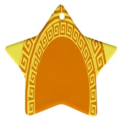 Greek Ornament Shapes Large Yellow Orange Star Ornament (Two Sides)
