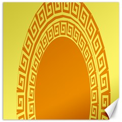Greek Ornament Shapes Large Yellow Orange Canvas 12  x 12