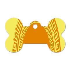 Greek Ornament Shapes Large Yellow Orange Dog Tag Bone (Two Sides)