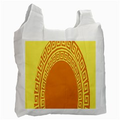 Greek Ornament Shapes Large Yellow Orange Recycle Bag (One Side)