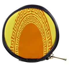 Greek Ornament Shapes Large Yellow Orange Mini Makeup Bags