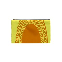 Greek Ornament Shapes Large Yellow Orange Cosmetic Bag (Small)