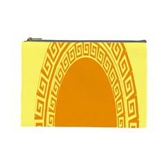 Greek Ornament Shapes Large Yellow Orange Cosmetic Bag (Large)