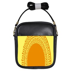 Greek Ornament Shapes Large Yellow Orange Girls Sling Bags