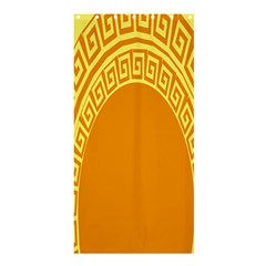 Greek Ornament Shapes Large Yellow Orange Shower Curtain 36  x 72  (Stall)