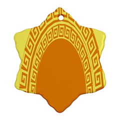 Greek Ornament Shapes Large Yellow Orange Ornament (Snowflake)
