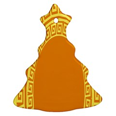 Greek Ornament Shapes Large Yellow Orange Christmas Tree Ornament (Two Sides)