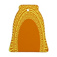 Greek Ornament Shapes Large Yellow Orange Bell Ornament (Two Sides)