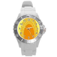 Greek Ornament Shapes Large Yellow Orange Round Plastic Sport Watch (L)