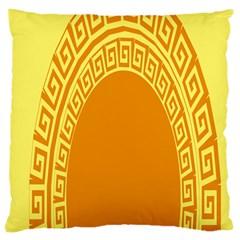 Greek Ornament Shapes Large Yellow Orange Large Cushion Case (Two Sides)