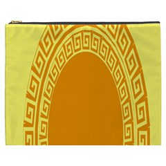 Greek Ornament Shapes Large Yellow Orange Cosmetic Bag (XXXL)