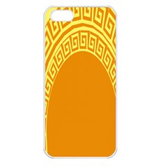 Greek Ornament Shapes Large Yellow Orange Apple iPhone 5 Seamless Case (White)