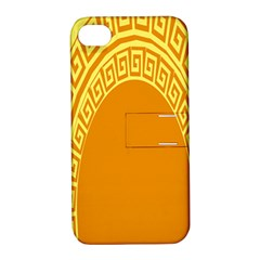 Greek Ornament Shapes Large Yellow Orange Apple iPhone 4/4S Hardshell Case with Stand