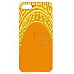 Greek Ornament Shapes Large Yellow Orange Apple iPhone 5 Hardshell Case with Stand