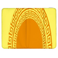 Greek Ornament Shapes Large Yellow Orange Samsung Galaxy Tab 7  P1000 Flip Case