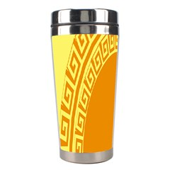 Greek Ornament Shapes Large Yellow Orange Stainless Steel Travel Tumblers