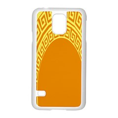 Greek Ornament Shapes Large Yellow Orange Samsung Galaxy S5 Case (White)