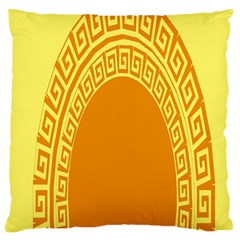 Greek Ornament Shapes Large Yellow Orange Standard Flano Cushion Case (Two Sides)