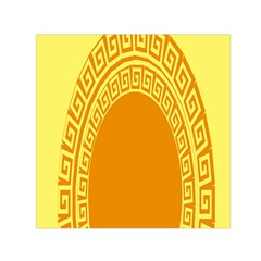 Greek Ornament Shapes Large Yellow Orange Small Satin Scarf (Square)