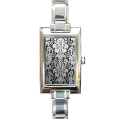 Flower Floral Grey Black Leaf Rectangle Italian Charm Watch