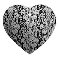 Flower Floral Grey Black Leaf Ornament (Heart)