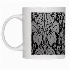 Flower Floral Grey Black Leaf White Mugs