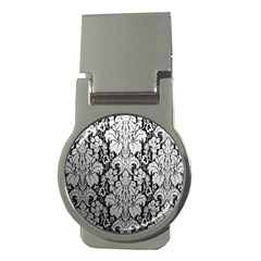 Flower Floral Grey Black Leaf Money Clips (Round)