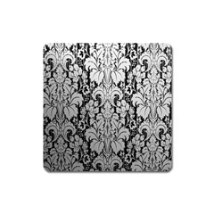Flower Floral Grey Black Leaf Square Magnet