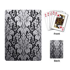 Flower Floral Grey Black Leaf Playing Card