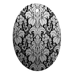 Flower Floral Grey Black Leaf Oval Ornament (Two Sides)