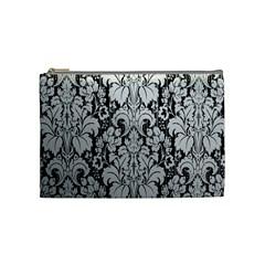 Flower Floral Grey Black Leaf Cosmetic Bag (Medium)