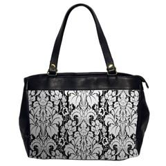 Flower Floral Grey Black Leaf Office Handbags (2 Sides)