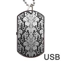 Flower Floral Grey Black Leaf Dog Tag USB Flash (One Side)
