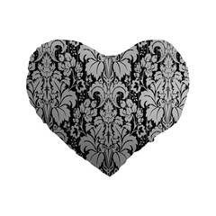 Flower Floral Grey Black Leaf Standard 16  Premium Heart Shape Cushions